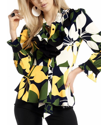 LEAVES PRINT NECK RIBBON TOP