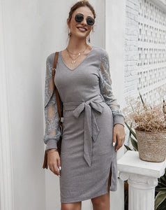 LONG SLEEVE, BELT DRESS W/SIDE SPLIT