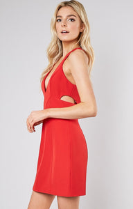 V-NECK SIDE BACK SLIT DRESS