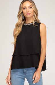 SLEEVELESS BEADED MOCK NECK WOVEN LAYERED TOP