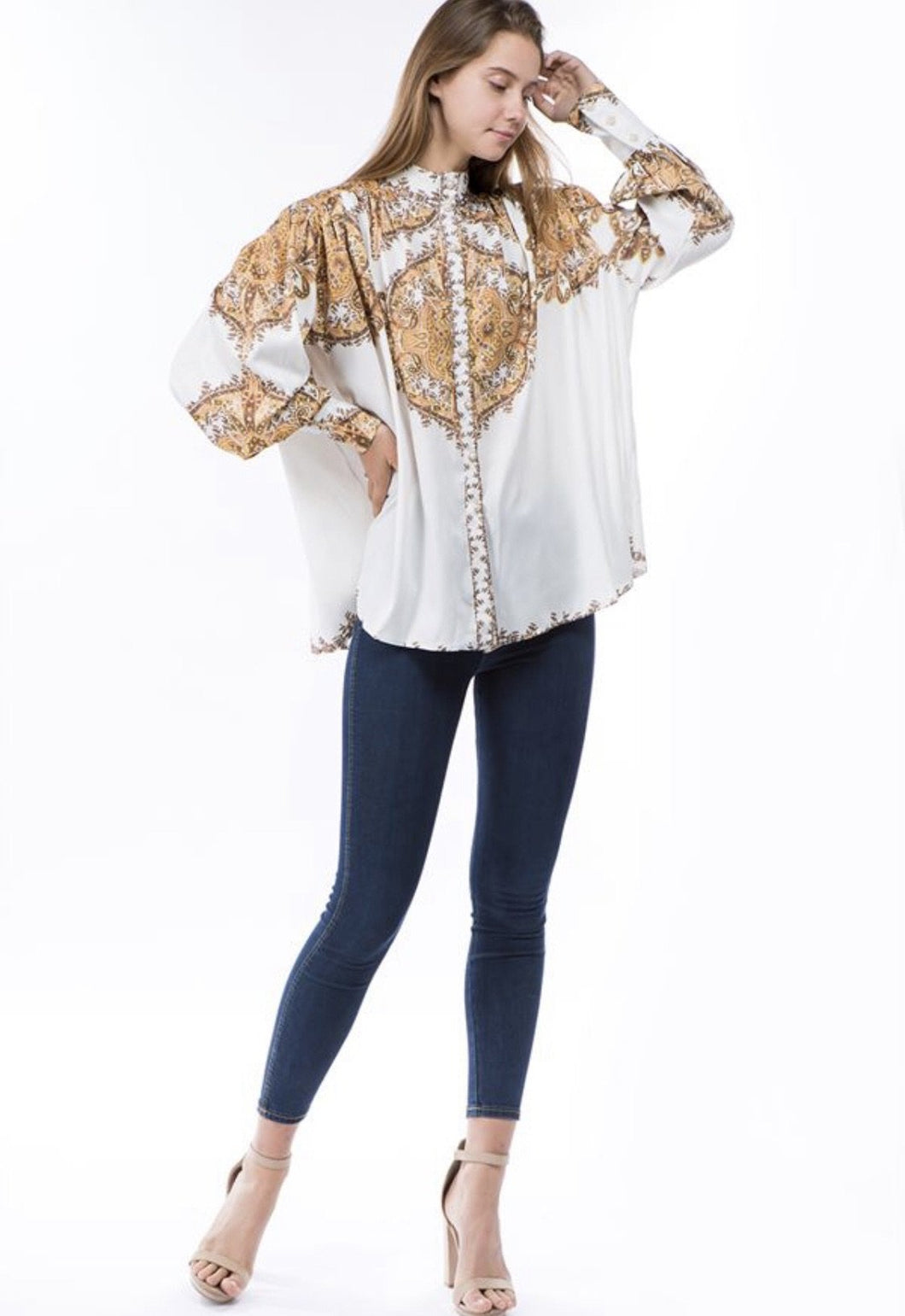 ROYAL PRINT PUFF SLEEVE BLOUSE