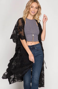 KIMONO SLEEVE MESH LACE MIDI CARDIGAN WITH WAIST DRAWSTRING
