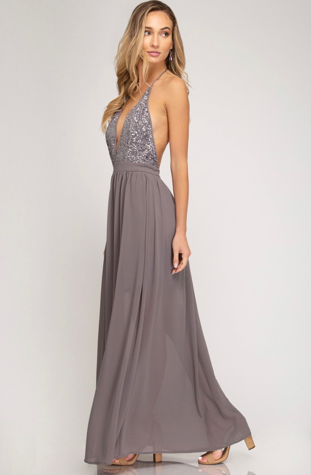 WOVEN MAXI DRESS WITH SEQUIN CAMI TOP WITH LINING