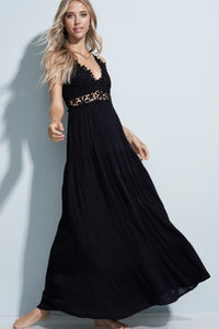 BOHO FLOWER CROCHET LACE TRIM MAXI DRESS