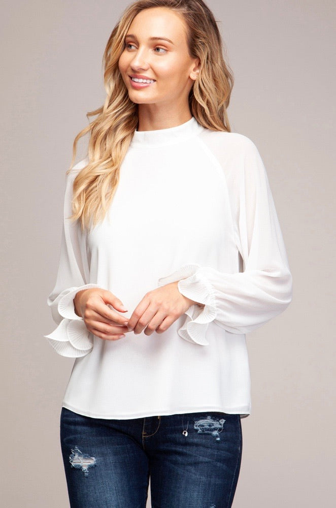 HIGH NECK BLOUSE WITH LONG SLEEVE
