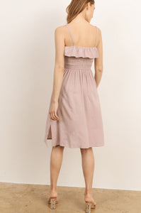 FRONT TIE RUFFLE DRESS