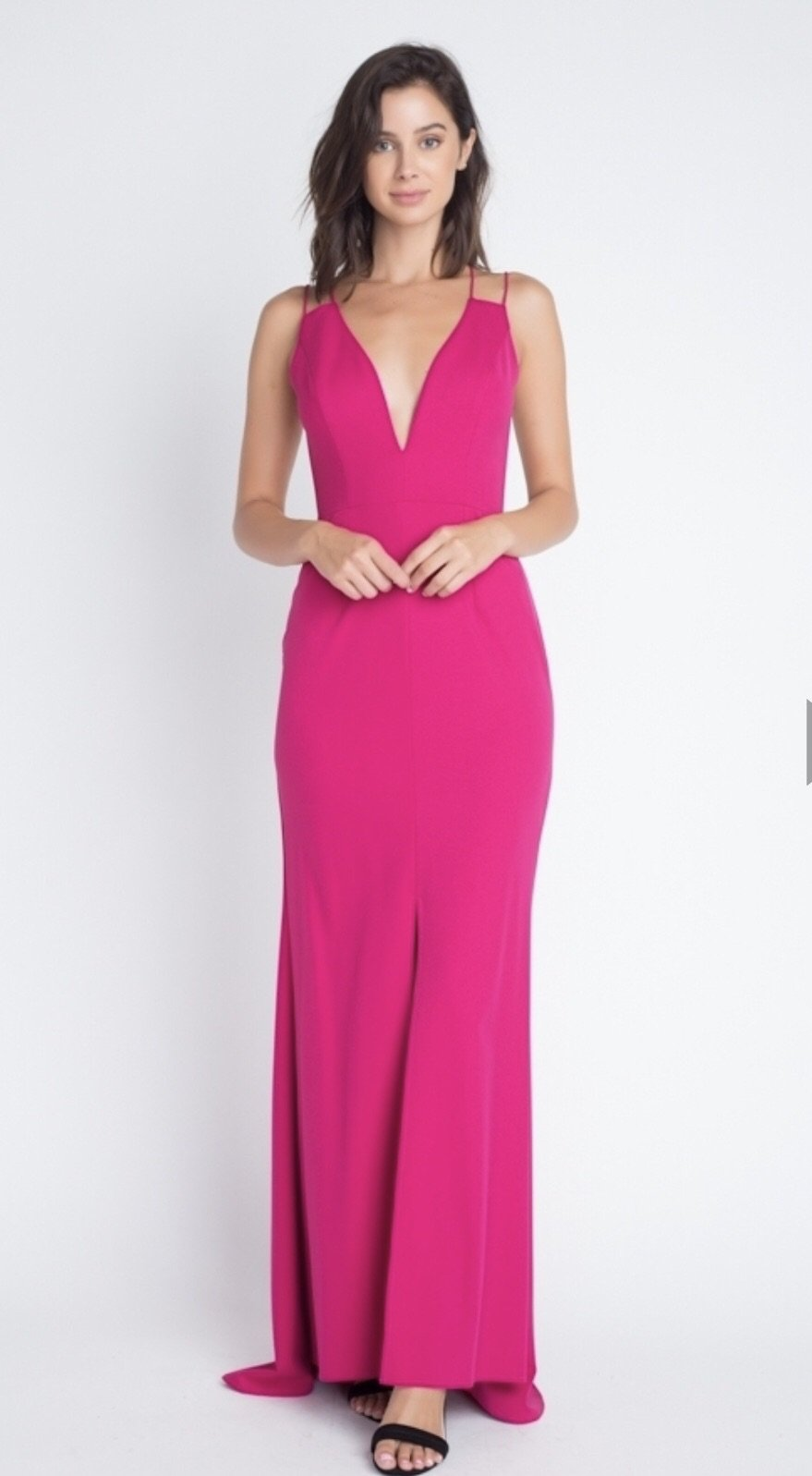 DEEP V MAXI DRESS WITH SPAGHETTI STRAPS AND CROSSBACK