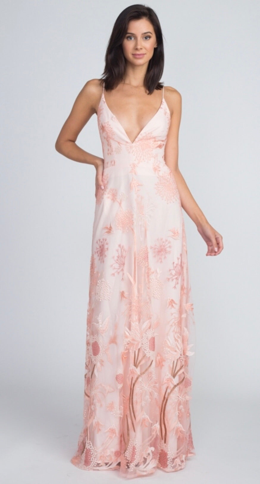 FLORAL MAXI WITH DEEP V AND LACE BACK