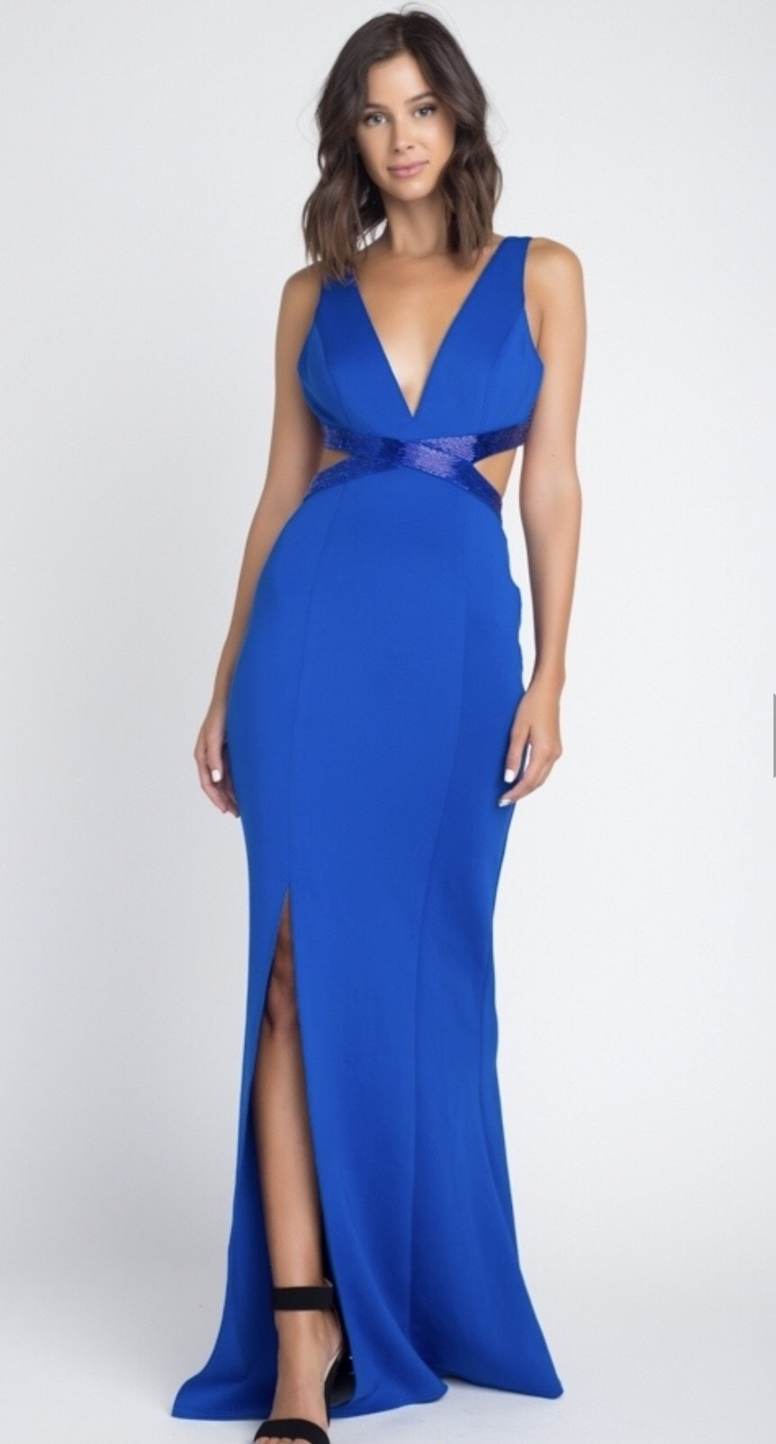 BEADED CUT OUT DRESS BEAD DETAIL IN ROYAL BLUE