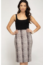 SNAKE SKIN PRINT FAUX SUEDE MIDI SKIRT WITH BACK SLIT DETAIL