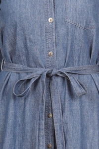 BUTTON DOWN JEAN DRESS WITH LONG SLEEVE & LOOSE FIT