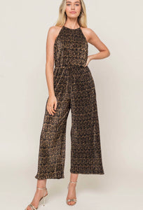 HIGH NECK METALLIC PLISSE JUMPSUIT