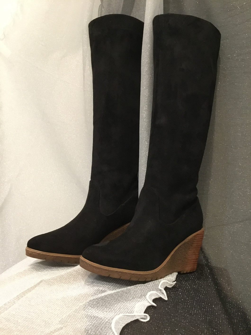 LIGHTWEIGHT WEDGE HEEL SOFT SUEDE KNEE-HIGH BOOTS