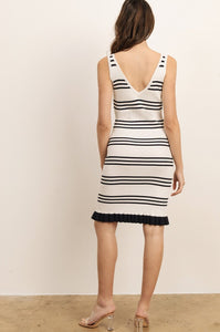 DRESS STRIPED IVORY WITH RUFFLE BOTTOM