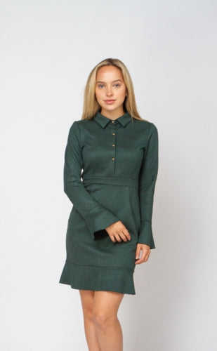 FRONT BUTTON SUEDE PEPLUM DRESS