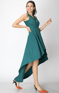 DEEP V HIGH LOW DRESS