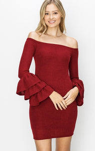 OFF SHOULDER RUFFLE CUFF DRESS