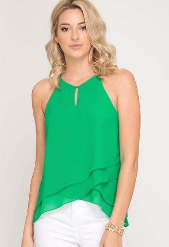 GREEN SLEEVELESS HALTER NECK TOP WITH FRONT TULIP DETAIL