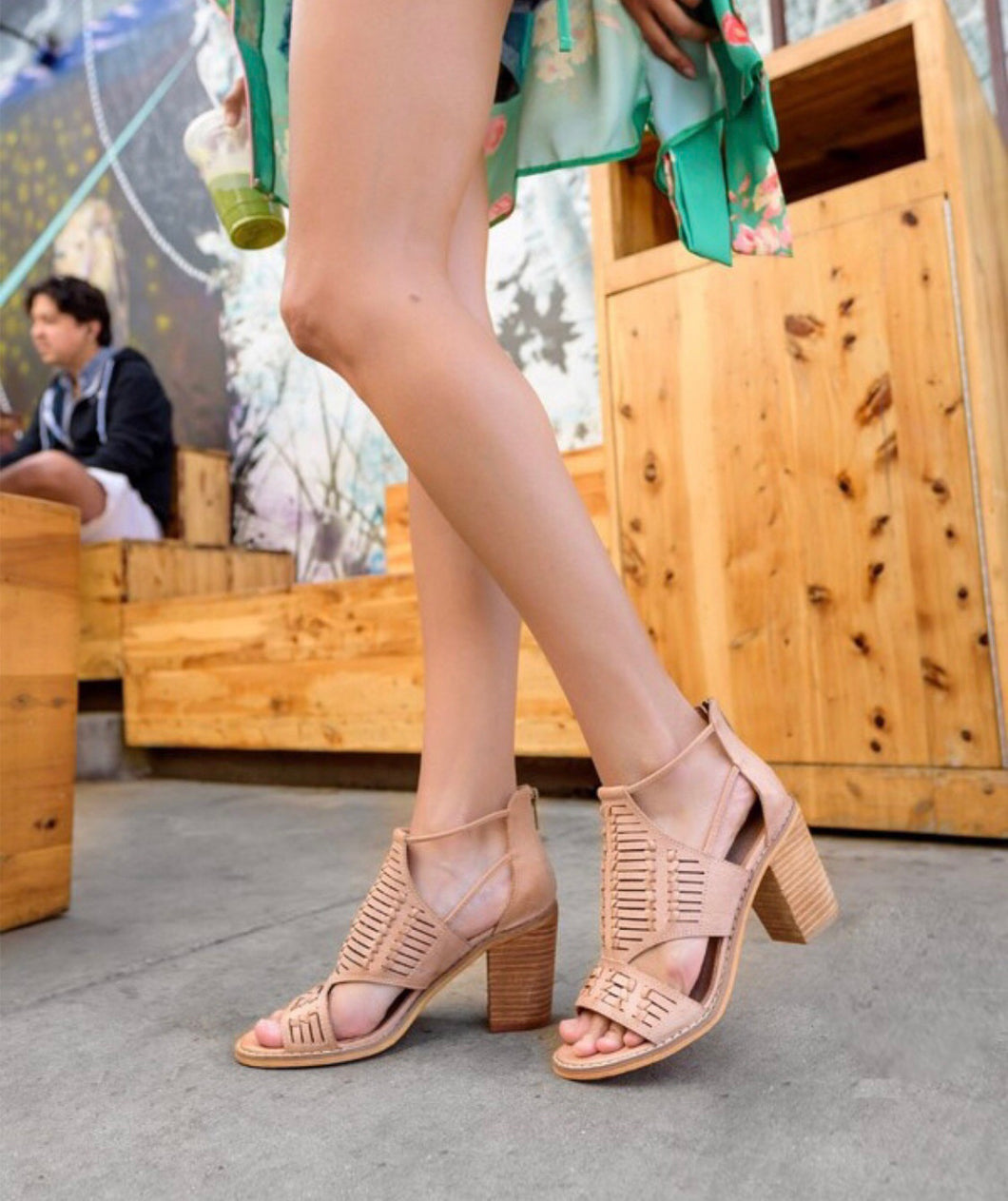 SANDAL MICROFIBER SOFT LEATHER SHOES STYLE CALIFORNIAN BLOCK HEEL