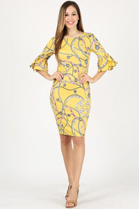 DRESS  BODY CON - 3/4 Sleeve IN AN ALLOVER PRINT FLUTTER SLEEVES