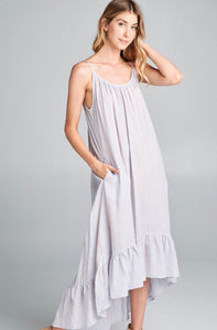 DRESS MULTI STRIPE HIGH LOW  THIN STRIPE ROUND NECKLINE. HI-LOW.