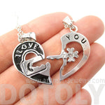 "2 PIece Heart Shaped Lock and Key ""I Love You"" Couple Necklace in Silver 
