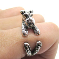 3D Miniature Schnauzer Dog Shaped Animal Wrap Ring in Shiny Silver | US Sizes 5 to 9 | DOTOLY