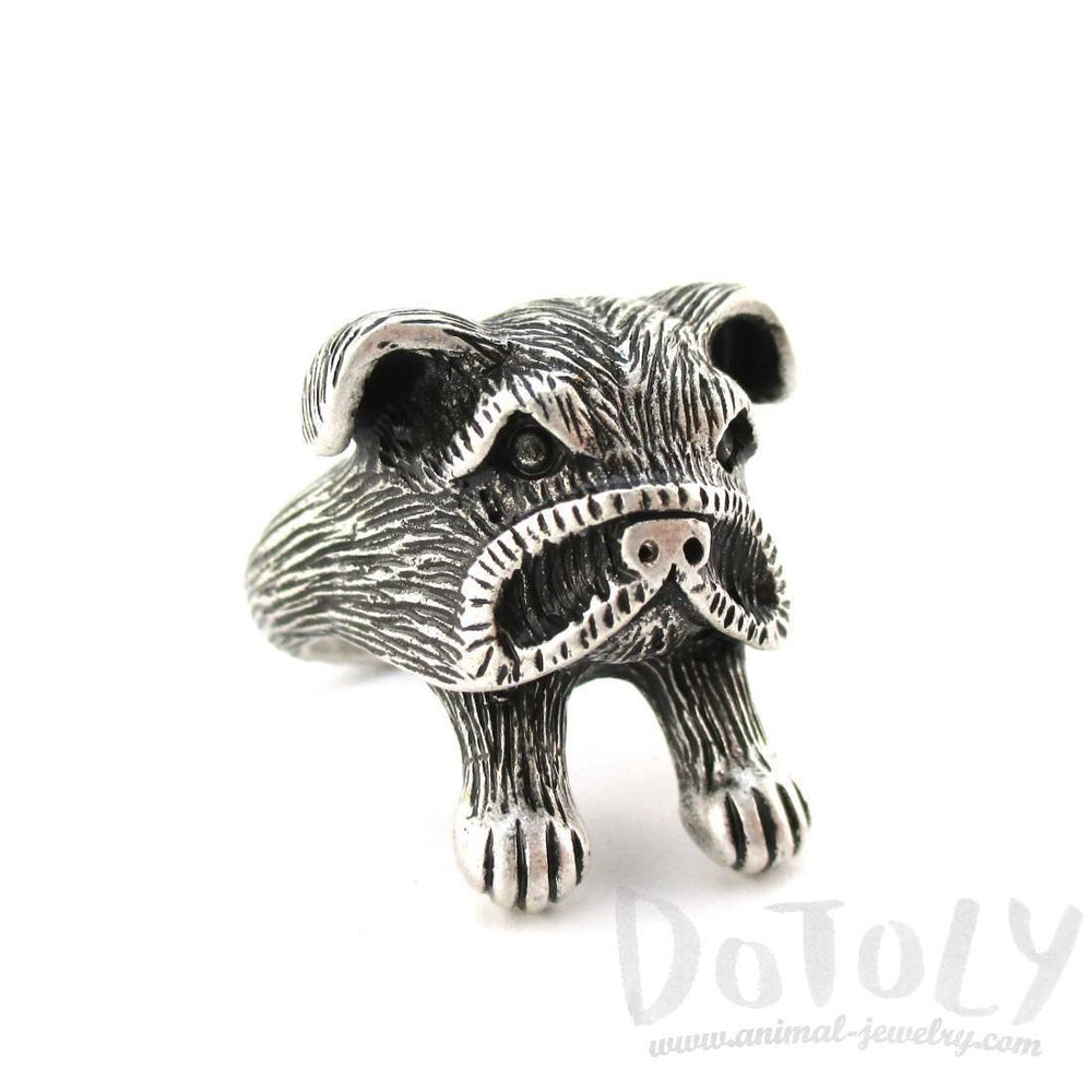 3D American Bulldog Head Shaped Animal Ring in Silver | Gifts for Dog Lovers | DOTOLY