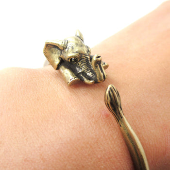 3D Baby Elephant Wrapped Around Your Wrist Shaped Bangle Bracelet in Brass | DOTOLY