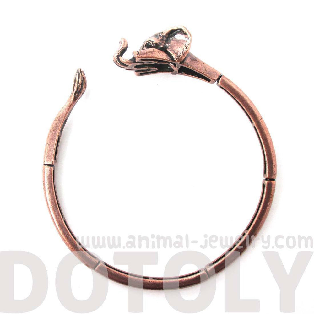 3D Baby Elephant Wrapped Around Your Wrist Shaped Bangle Bracelet in Copper | DOTOLY