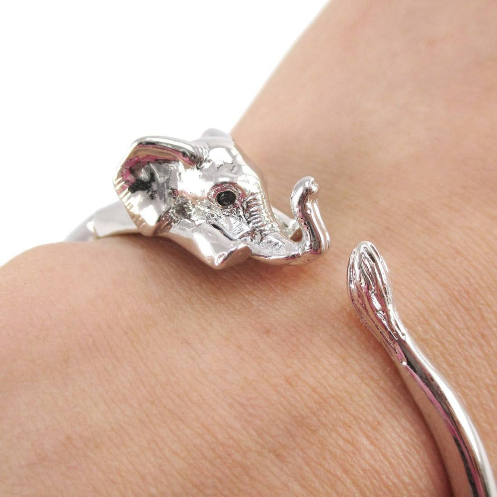 Elephant Wrapped Around Your Wrist Shaped Bracelet in Shiny Silver