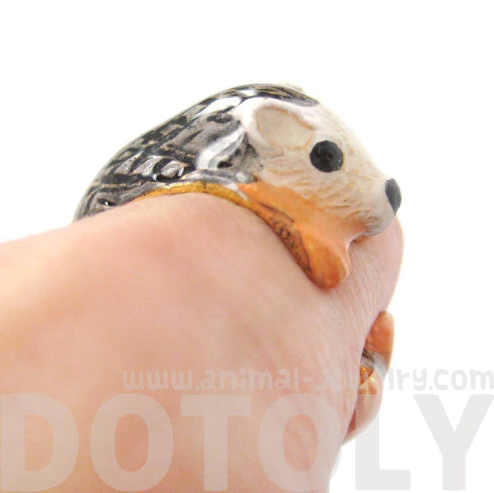 3D Baby Hedgehog Porcupine Shaped Enamel Animal Ring in US Size 6 and 7 | Limited Edition | DOTOLY