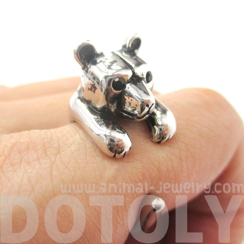 3D Baby Polar Bear Wrapped Around Your Finger Shaped Animal Ring in Shiny Silver | US Size 4 to 8.5 | DOTOLY