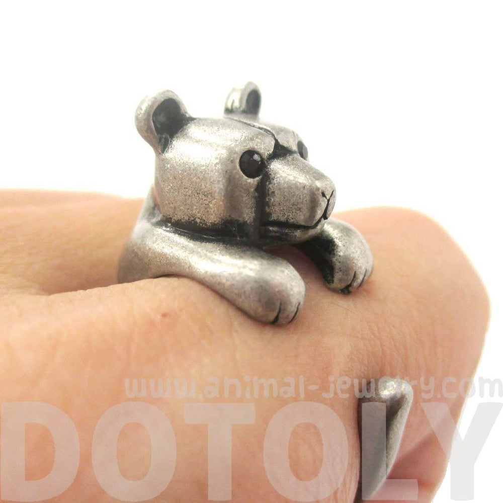 3D Baby Polar Bear Wrapped Around Your Finger Shaped Animal Ring in Silver | US Size 4 to 8.5 | DOTOLY