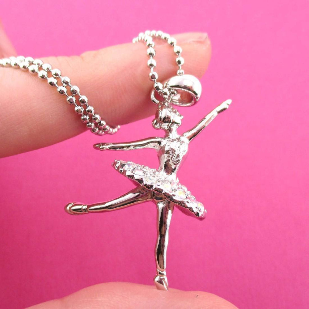 3D Ballet Ballerina Dancer Themed Necklace in Silver | DOTOLY | DOTOLY