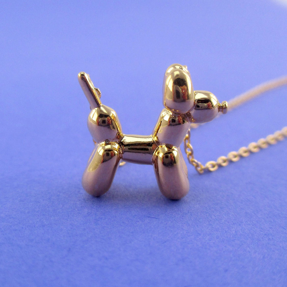 3D Balloon Dog Sculpture Balloon Twisted Animal Shaped Pendant Necklace in Gold