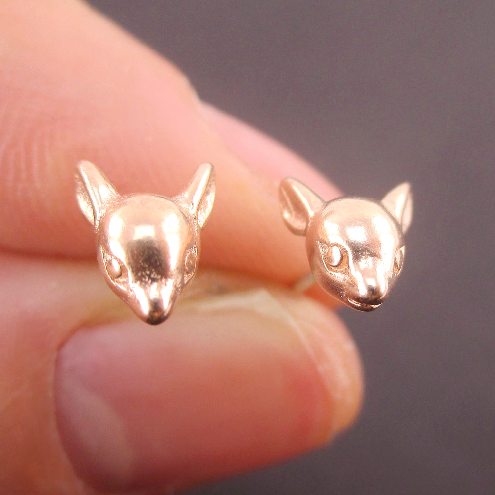 3D Miniature Deer Doe Head Shaped Animal Taxidermy Stud Earrings