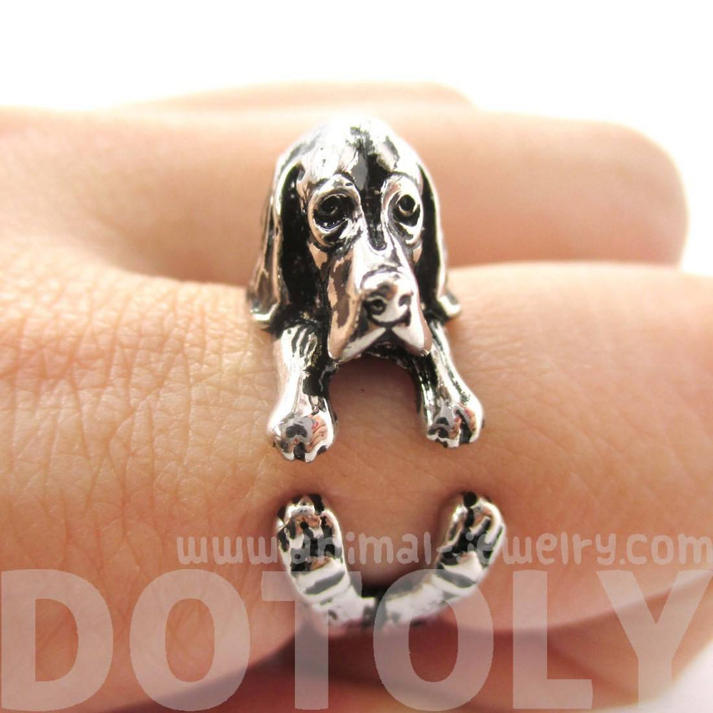 3D Basset Hound Dog Shaped Animal Wrap Ring in Shiny Silver | Sizes 4 to 8.5 | DOTOLY
