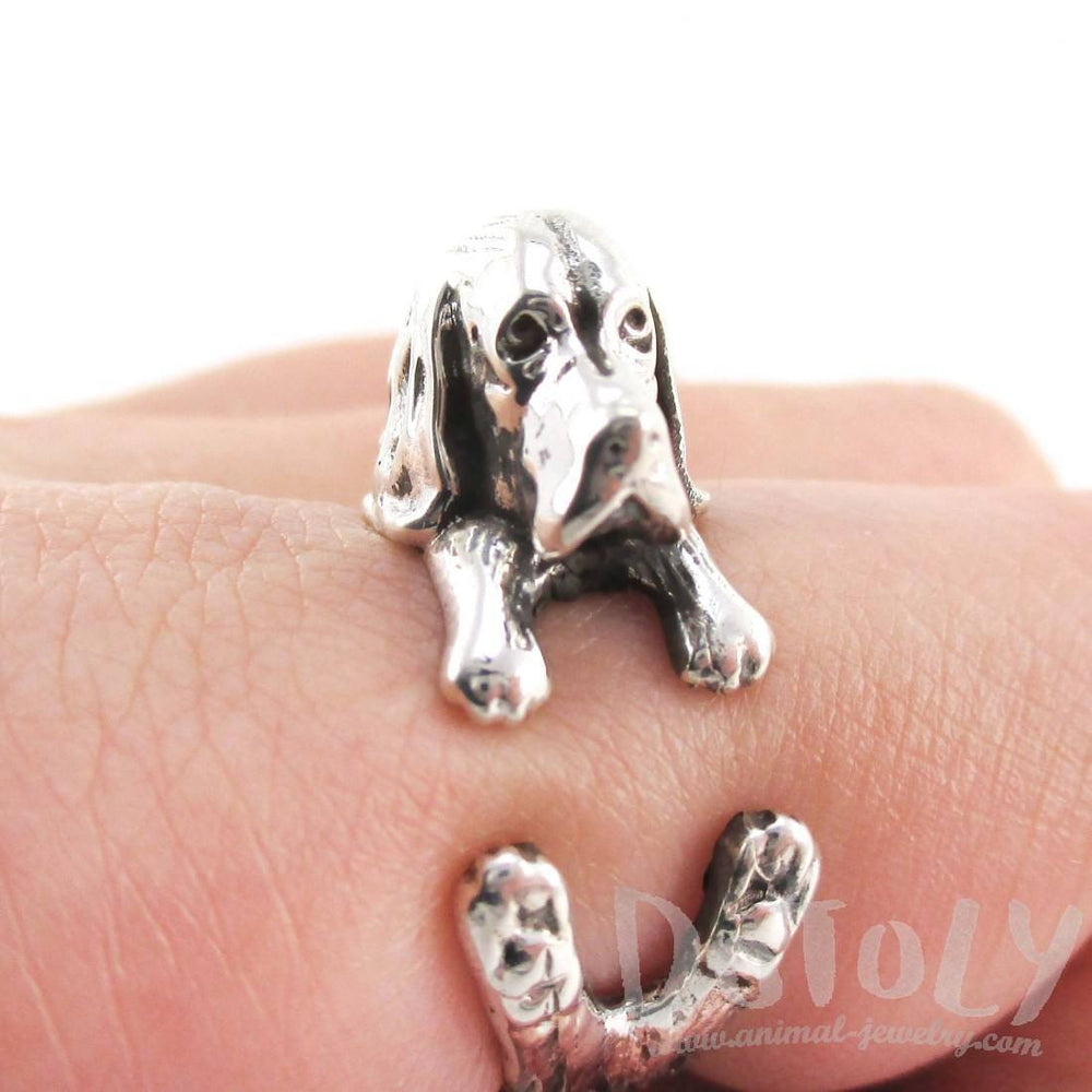 3D Basset Hound Shaped Animal Wrap Ring in 925 Sterling Silver | US Sizes 4 to 8.5 | DOTOLY