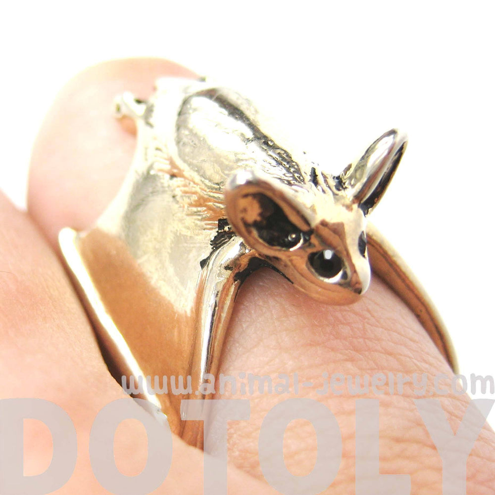3D Bat Animal Wrap Ring in Shiny Gold Sizes 5 to 10 Available | Animal Jewelry | DOTOLY