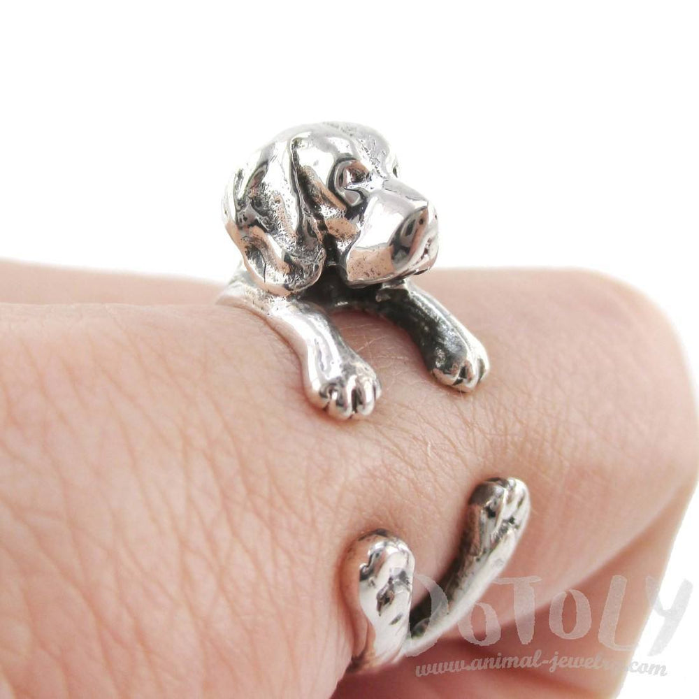 3D Beagle Puppy Shaped Animal Wrap Ring in 925 Sterling Silver | Sizes 4 to 8.5 | DOTOLY