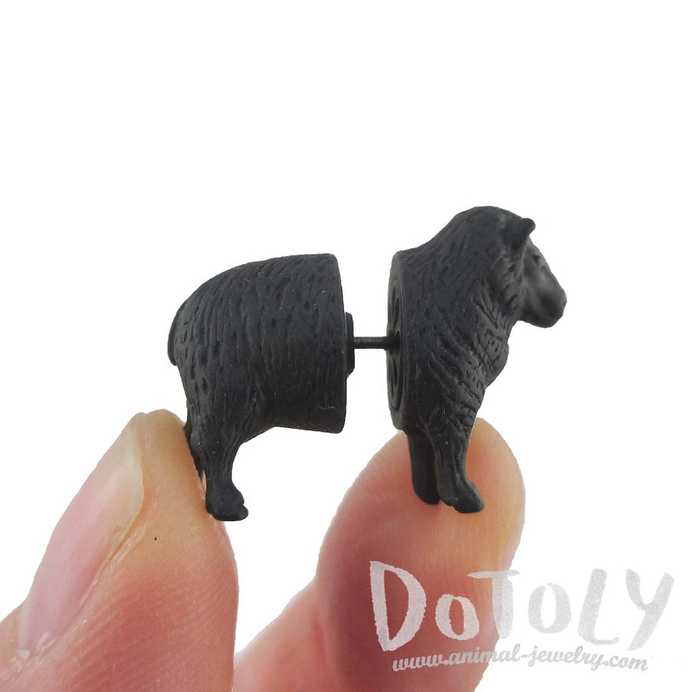 3D Black Sheep Shaped Two Part Front Back Stud Earrings | DOTOLY