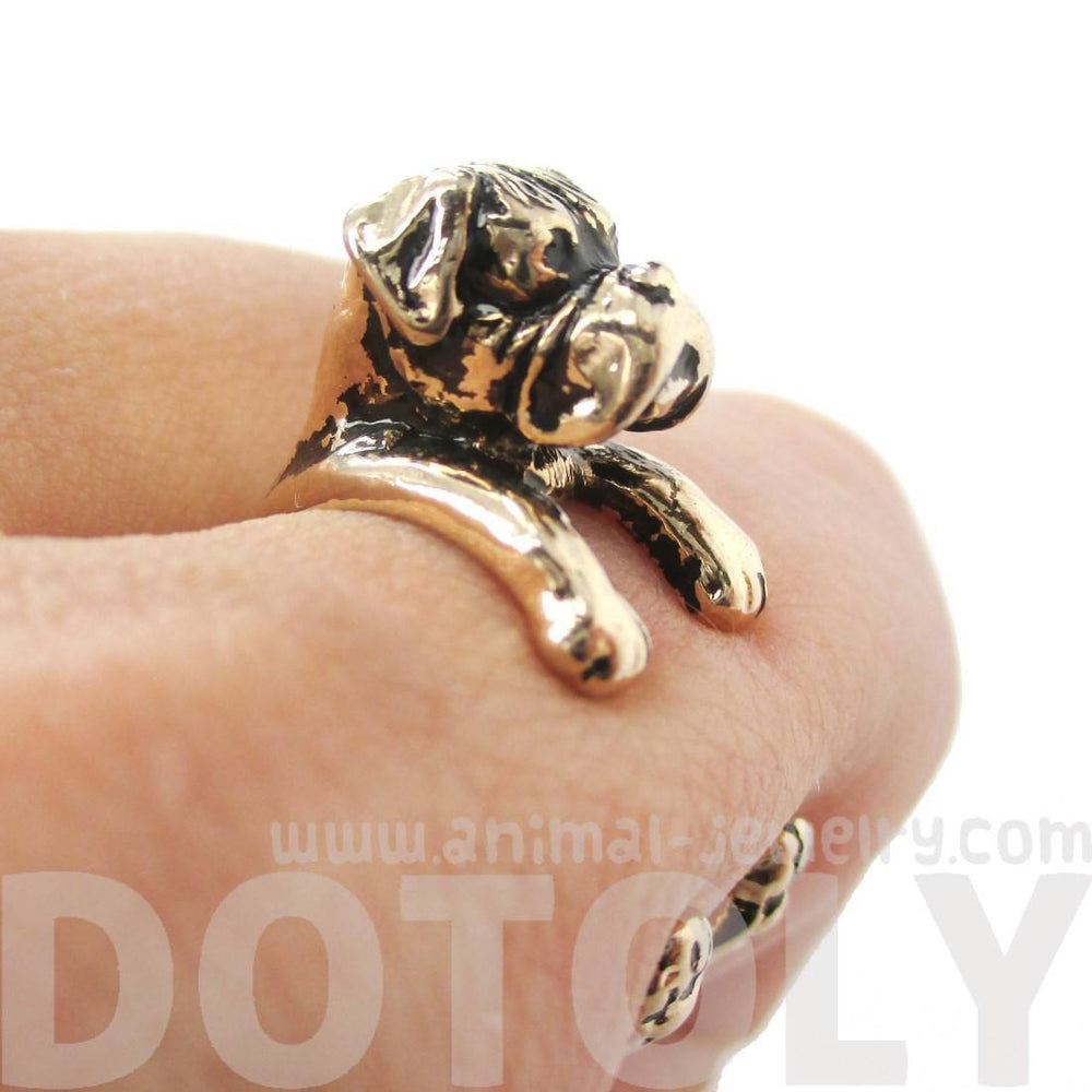 3D Boxer Dog Shaped Animal Wrap Ring in Shiny Gold | Sizes 4 to 8.5 | DOTOLY