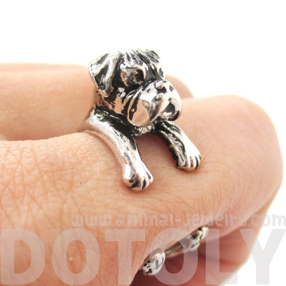 3D Boxer Dog Shaped Animal Wrap Ring in Shiny Silver | Sizes 4 to 8.5 | DOTOLY