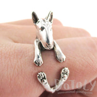 3D Bull Terrier Dog Shaped Animal Wrap Ring in 925 Sterling Silver | US Sizes 4 to 8.5 | DOTOLY