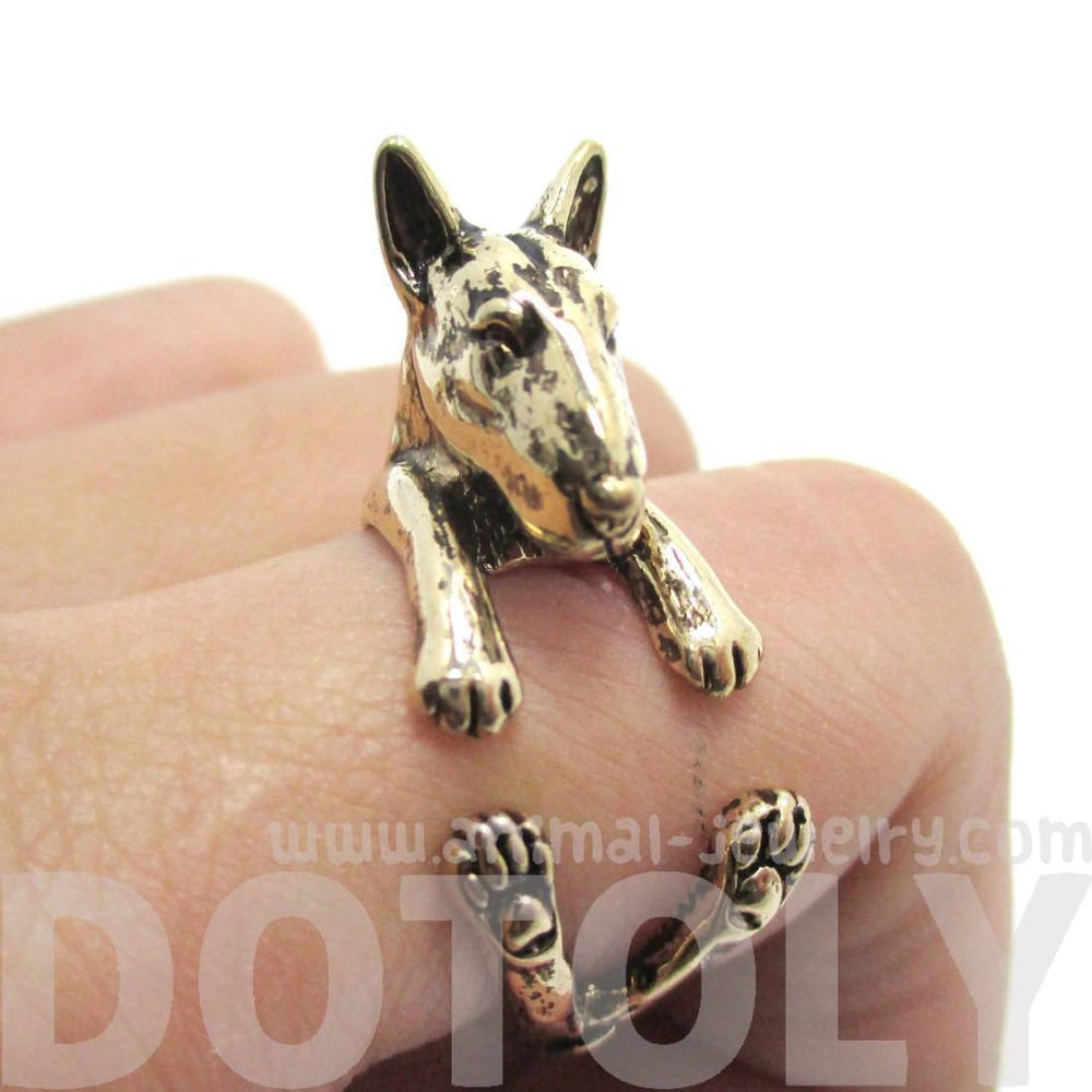 3D Bull Terrier Dog Shaped Animal Wrap Ring in Shiny Gold | US Sizes 5 to 9 | DOTOLY