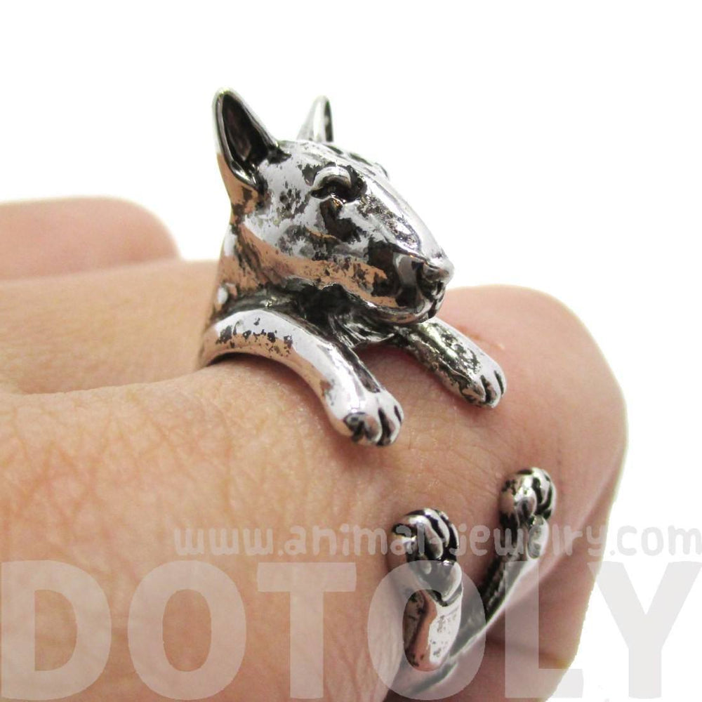 3D Bull Terrier Dog Shaped Animal Wrap Ring in Shiny Silver | US Sizes 5 to 9 | DOTOLY