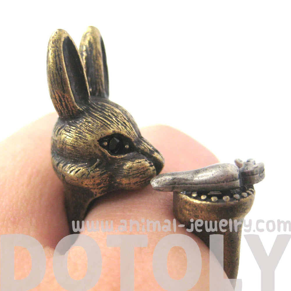 3D Bunny Rabbit with Carrot Animal Wrap Ring in Brass | US Sizes 8 to 11 | DOTOLY