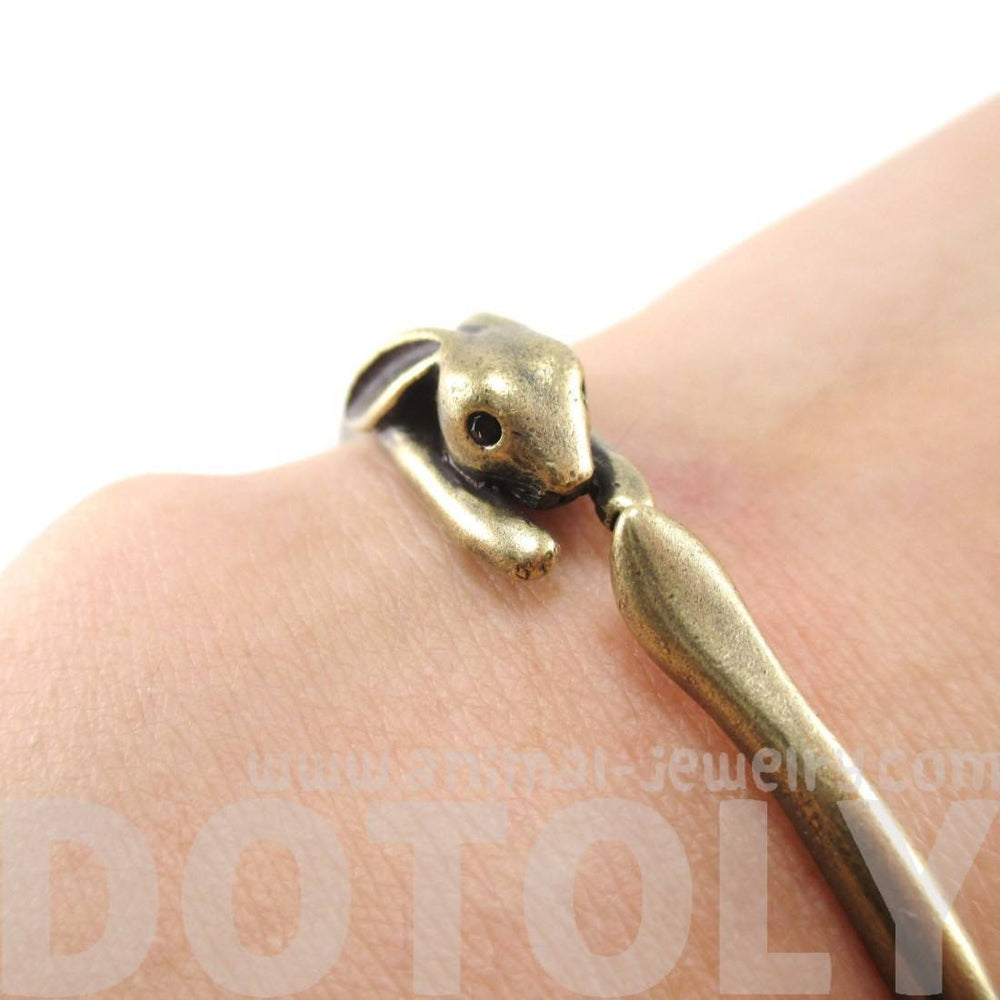 3D Bunny Rabbit Wrapped Around Your Wrist Shaped Bangle Bracelet in Brass | DOTOLY