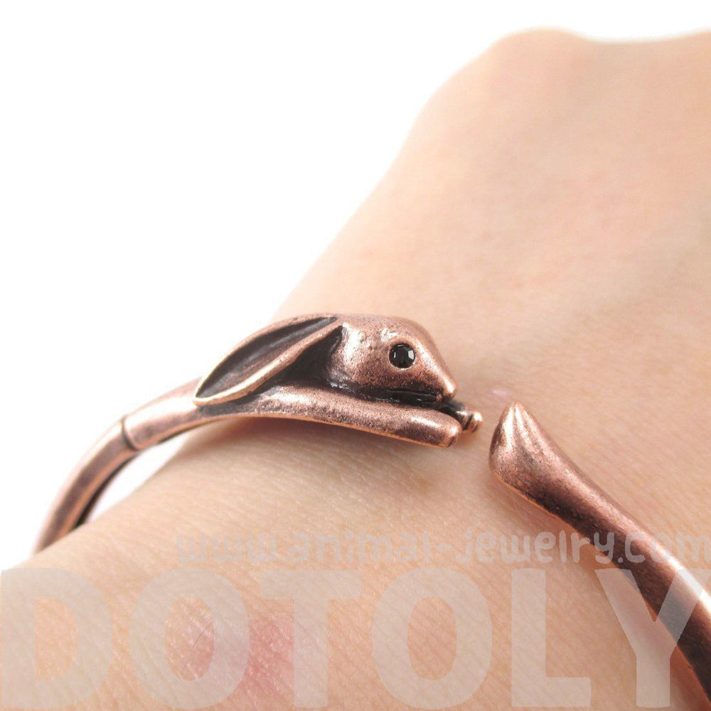 3D Bunny Rabbit Wrapped Around Your Wrist Shaped Bangle Bracelet in Copper | DOTOLY
